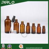 frascos de vidro luxuosos ambarinos do pulverizador de 5ml 10ml 15ml 20ml 30ml 50ml 100ml com o pulverizador preto da loção