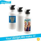 Botellas de agua de aluminio baratas de encargo con marcas de fábrica en blanco de la botella