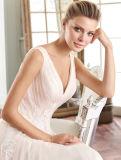 V a плиссированный задней частью шифоновый - линия платье венчания с декоративным шнурком на шкафуте