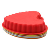 Molde de la torta del silicón del certificado del FDA, molde cariñoso de la torta del silicón de la dimensión de una variable del corazón/molde del pudín/molde del silicón del helado