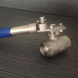Válvula de esfera do aço inoxidável 2PC com o punho automático da restauração