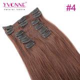 Clip recto del pelo brasileño caliente de la venta en extensiones del pelo
