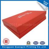 Caixa de presente rígida de papel impressa da cor vermelha com logotipo dourado
