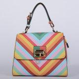 새로운 디자인 무지개 줄무늬 PU 숙녀 핸드백 (P6203)