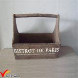 フランス型のハンドルが付いている木のプラントバスケット