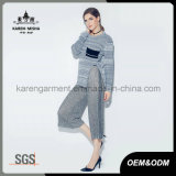 Ladies Heather com nervuras Side Slit manga comprida Knit Agasalho