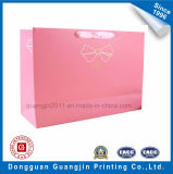 Rosafarbene Farbe gedruckte Kunstdruckpapier-Einkaufstasche mit Farbband