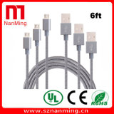 do cabo trançado do USB do micro do nylon de 6FT USB de alta velocidade 2.0 um macho à micro sincronização de B e cabo cobrando para o Android