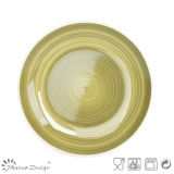 Insieme di pranzo di ceramica del cerchio verde dipinto a mano