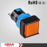 Interruttore di pulsante illuminato LED quadrato della testa 5A/250VAC del Ce ISO9001 TUV