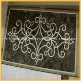 Reticolo del medaglione dell'intarsio del medaglione del marmo del getto di acqua