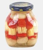 Vegetais misturados enlatados no frasco ou no estanho de vidro