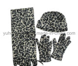 Promoção Lady Knitted Winter Warm Printed Polar Fleece Set