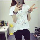 Camisa nova do algodão T do Rhinestone da impressão do bordado da luva do Short do projeto das mulheres