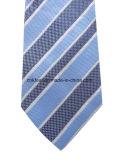 남자를 위한 진한 파란색 도비 줄무늬 넥타이에 밝은 파란색
