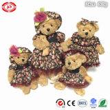 고귀한 꽃 드레싱 귀여운 브라운 견면 벨벳 장난감 곰 연약한 장난감