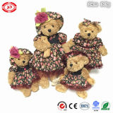 Brinquedo macio do urso bonito floral nobre da peluche do luxuoso de Brown da limpeza