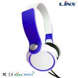 Weltweite freie Proben weiß und blauer Versuchskopfhörer-Computer-Kopfhörer