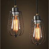 Luz preta da lâmpada do pendente do metal do bulbo muito agradável de Edison única