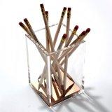 Ontruim/nam de Gouden Acryl Vierkante Houder van de Heerser van het Potlood van de Pen toe