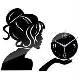 Ручка часов DIY Mirro девушки Beaty на стене украшает часы стены стикера подарка цифровых часов акриловые
