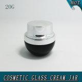 20ml de elegante Zwarte Lege Kosmetische Kruik van de Room van het Glas