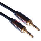 PVC negro cable estéreo de 3,5 mm