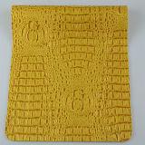 Piel artificial grabada amarilla brillante del PVC de la PU para el bolso del bolso