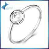 het Echte Zilveren April Druppeltje van 100% 925, de Juwelen van de Manier van de Vrouwen van de Ring van de Vinger van het Kristal van de Rots