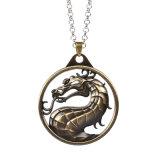 Jóia mortal do jogo video do filme do pendente do vintage do dragão da colar de Kombat do metal
