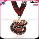 Médailles faites sur commande de Triathlon d'homme du fer 3D de nickel antique