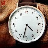 Orologio di vendita caldo della manopola di numeri arabi della vigilanza del quarzo di cifre arabe dell'OEM per gli uomini e le donne