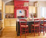 Moderner Walnuss-festes Holz-Küche-Entwurf