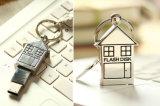 Mecanismo impulsor de la pluma del USB de la dimensión de una variable de la casa, palillo del USB del metal con Keychain