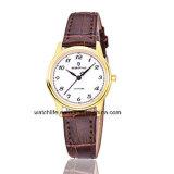 Дешевый wristwatch пар кварца кожаный планки вахты сапфира
