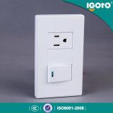 Americana estándar de la pared Interruptor con 3 Pin Socket