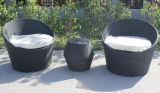 El estilo romántico francés de la silla de mimbre de la rota al aire libre de cristal