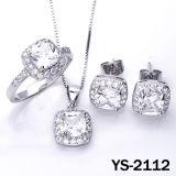 다이아몬드 보석 고품질 925 은 신부 CZ 세트