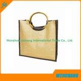 L'abitudine ha stampato il sacchetto di tela poco costoso riutilizzabile di Eco del Tote della maniglia della iuta grande