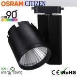punto de cinco años Tracklight del techo de la MAZORCA LED del ciudadano de la garantía CRI90+ 20W con el programa piloto de Osram