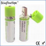 1.2V 1450mAh USB 재충전용 AA 건전지 (XH-PB-209)