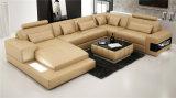 Mais novo mobiliário europeu de sala de estar Sofá de couro em canto