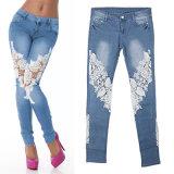 Die dünne Soem-Dame-Form nehmen Ausdehnungs-Denim-Jeans ab