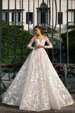 A Line / Princess Full Sleeve Ivory / Champagne Wedding Dress