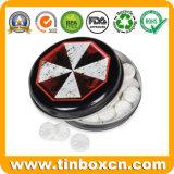 Круглая Mint коробка олова, жестяная коробка конфеты, олово кондитерскаи с шарниром, упаковкой еды аргументы за олова металла