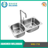 Wb2-718 Stainless Steel 304 OEM / ODM Double Bowl Sanitary Ware