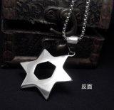 Joyería hexagrama colgante collar de hombres de acero inoxidable Moda