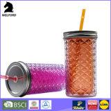 double tasse en plastique du mur 16oz avec la paille