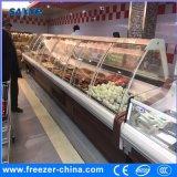 Refrigerador del refrigerador de la visualización del alimento del supermercado con la puerta de cristal curvada en frente