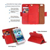 iPhone 6 Plusfall[abnehmbares Mappen-Folio] [2 in 1] [erstklassiges Vegan-Leder] iPhone 6s plus Mappen-Kasten